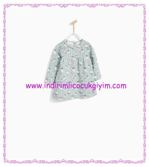 Zara kız bebek gri jakarlı desenli elbise-46 TL