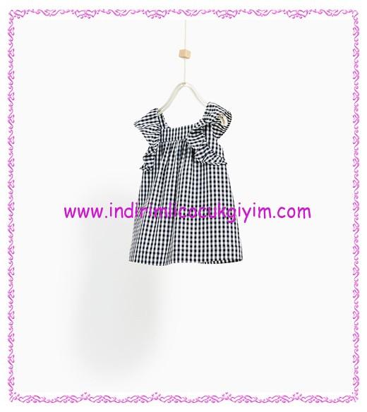 Zara kız bebek siyah pötikareli elbise-90 TL