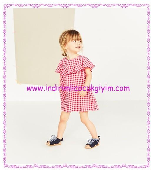 Zara kız bebek volanlı pötikareli elbise-90 TL