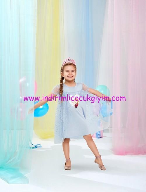 koton mavi frozen baskılı tüllü elbise-60 TL