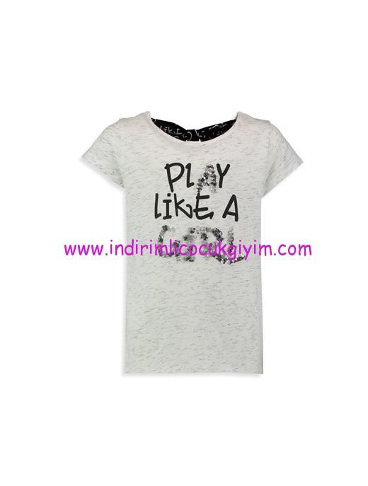 lc waikiki ekru baskılı kız çocuk tişört