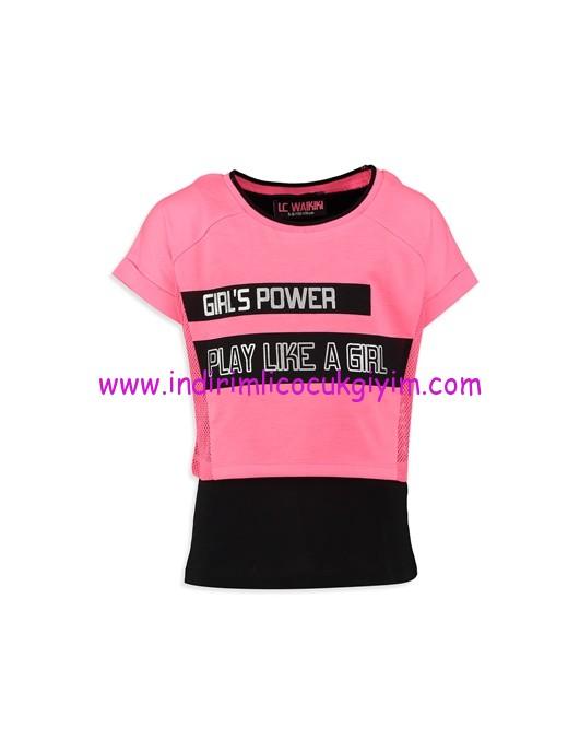 lc waikiki pembe siyah baskılı kız çocuk tişört