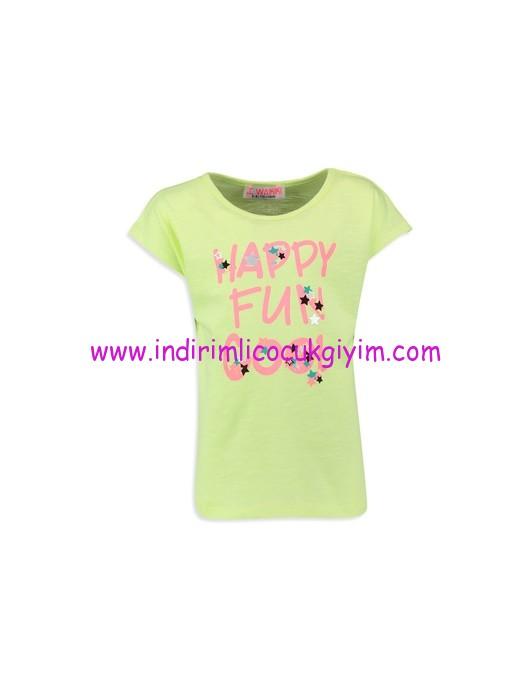 lcw neon yeşlili kız çocuk spor tişört