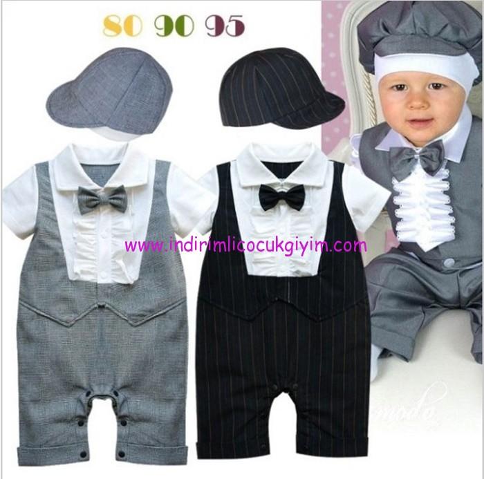 şapkalı erkek bebek takım elbiseleri