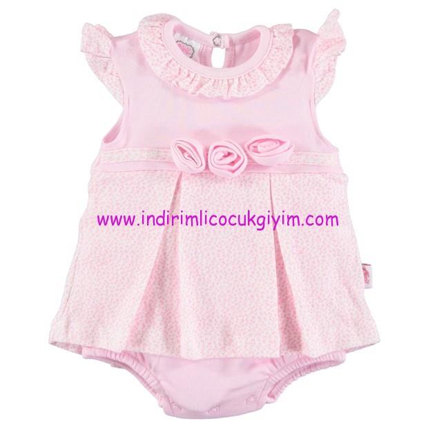 civil 3-24 ay pembe penye bebek elbisesi