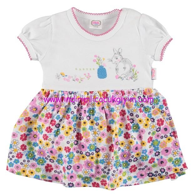 civil 6-24 ay penye çiçekli bebek elbisesi