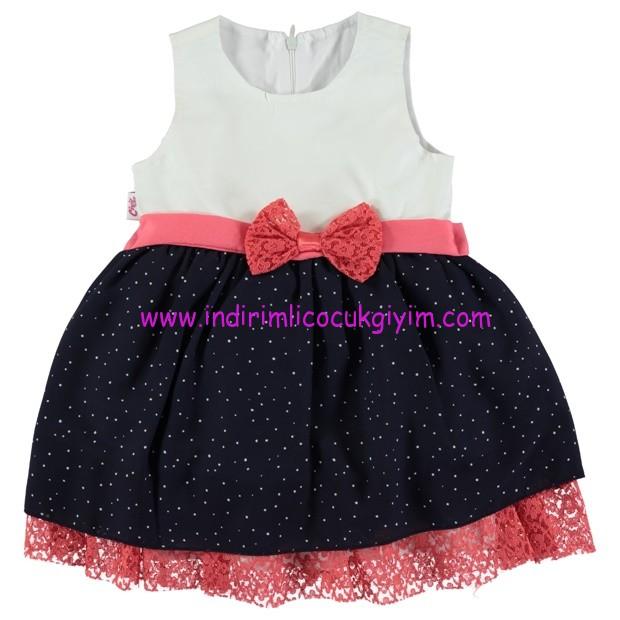 civil pembe fiyonklu eteği güpürlü bebek elbisesi