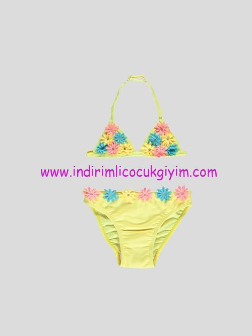 lc waikiki kız çocuk sarı çiçek aplikeli bikini