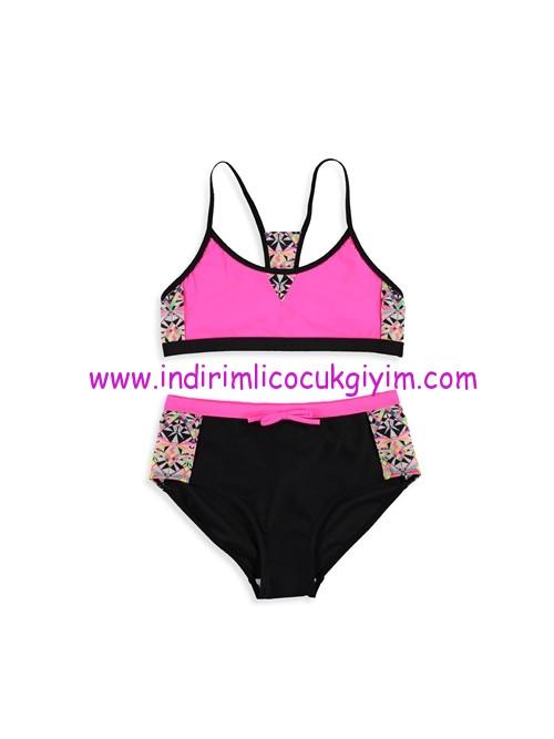lcw kız çocuk fuşya siyah bikini
