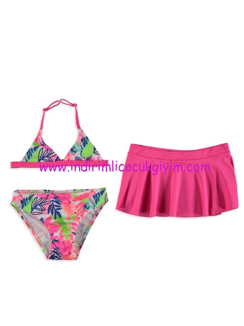 lcw kız çocuk pembe desenli etekli bikini