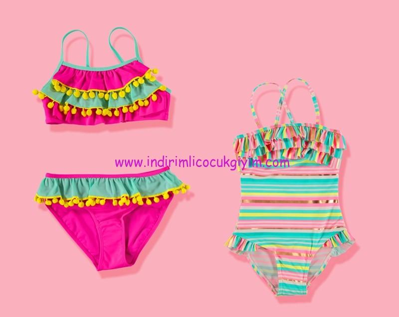lcw kız çocuk ponponlu püsküllü bikini-mayo modelleri