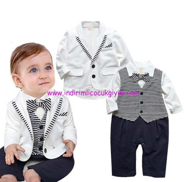papyonlu beyaz ceketli 3 parça erkek bebek takım