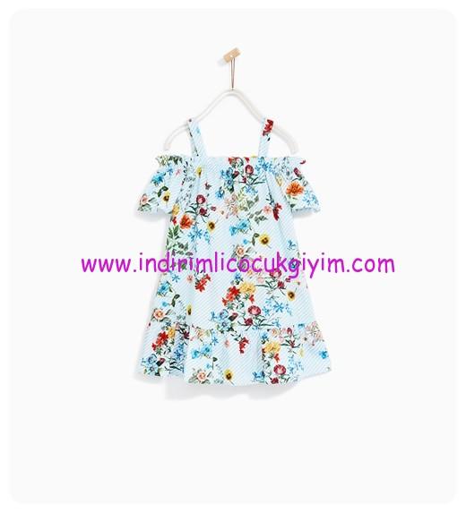 zara kız çocuk bordürlü çiçekli elbise