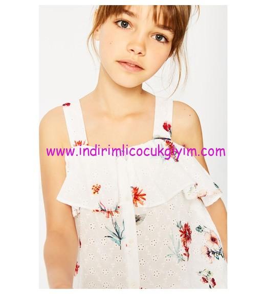 zara kız çocuk desenli isviçre stili işlemeli bluz