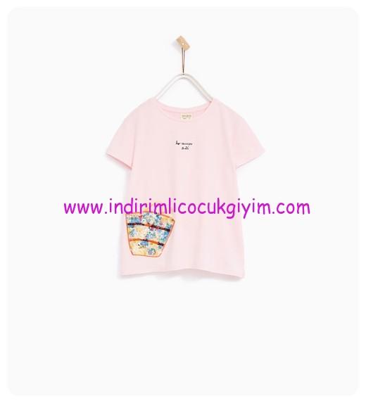 zara kız çocuk pembe payetli t-shirt