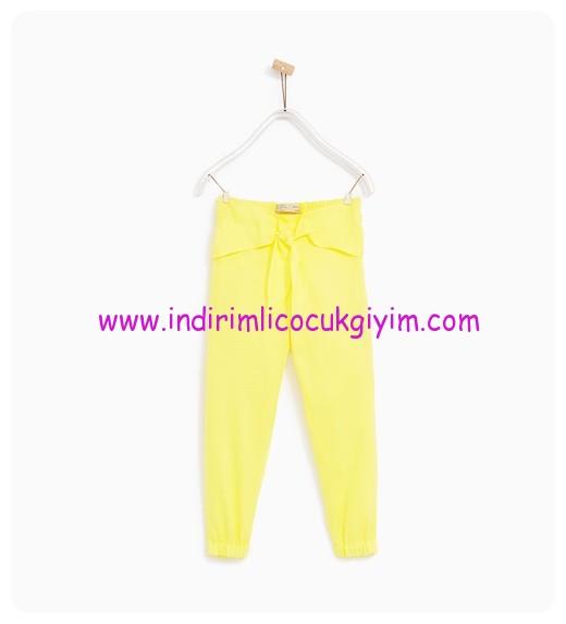 zara kız çocuk sarı dökümlü fiyonklu pantolon