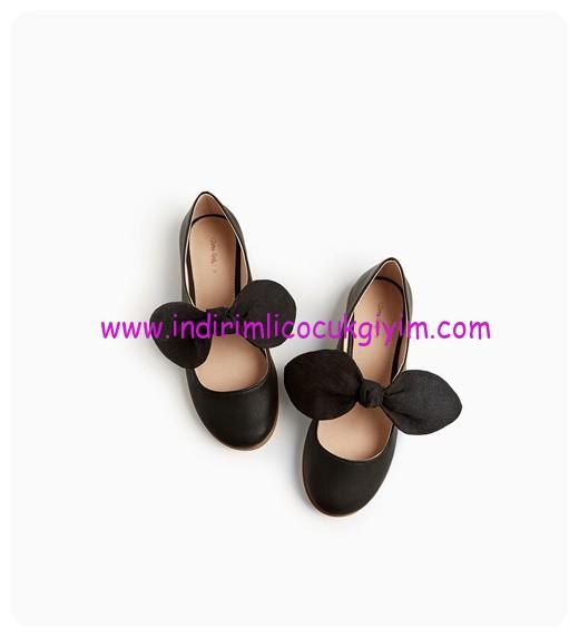 zara kız çocuk siyah fiyonklu babet ayakkabı