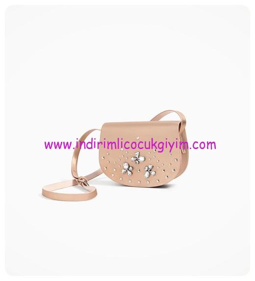 zara kız çocuk taşlı el çantası