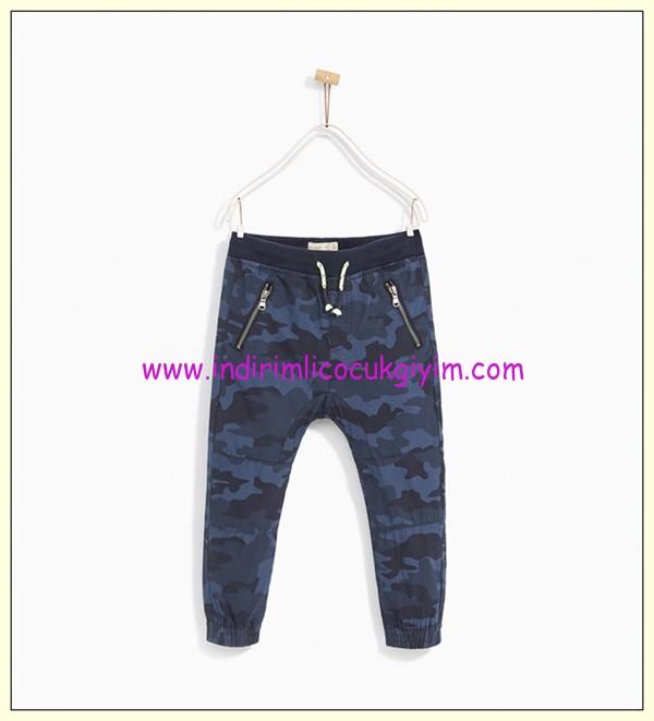 zara kamuflaj mavi erkek çocuk jogging pantolon