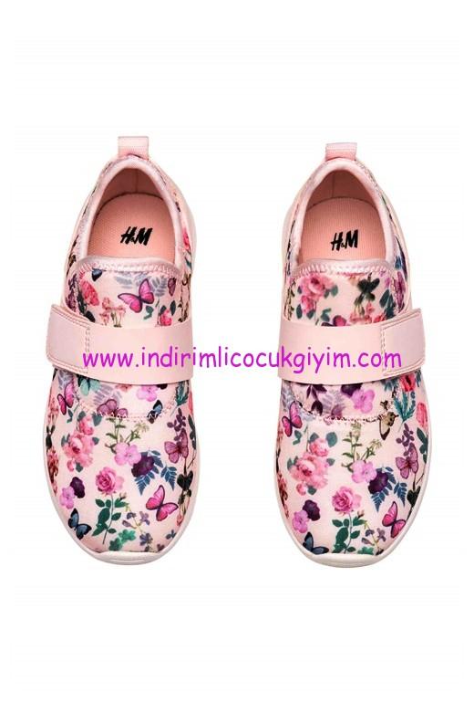 hm kız çocuk açık pembe desenli scuba ayakkabı