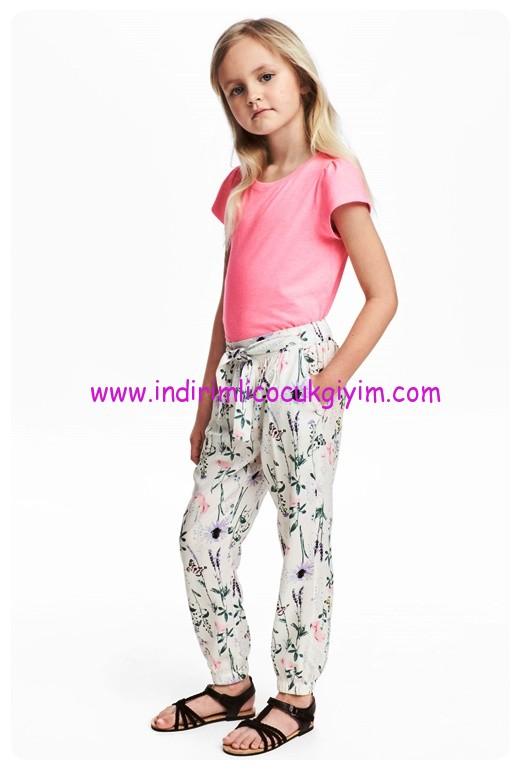 hm kız çocuk beyaz desenli dökümlü pantolon