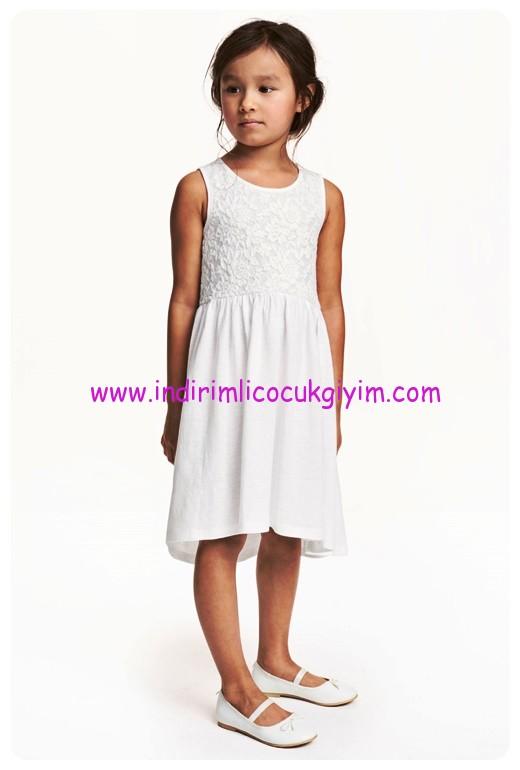 hm kız çocuk beyaz jarse yazlık elbise