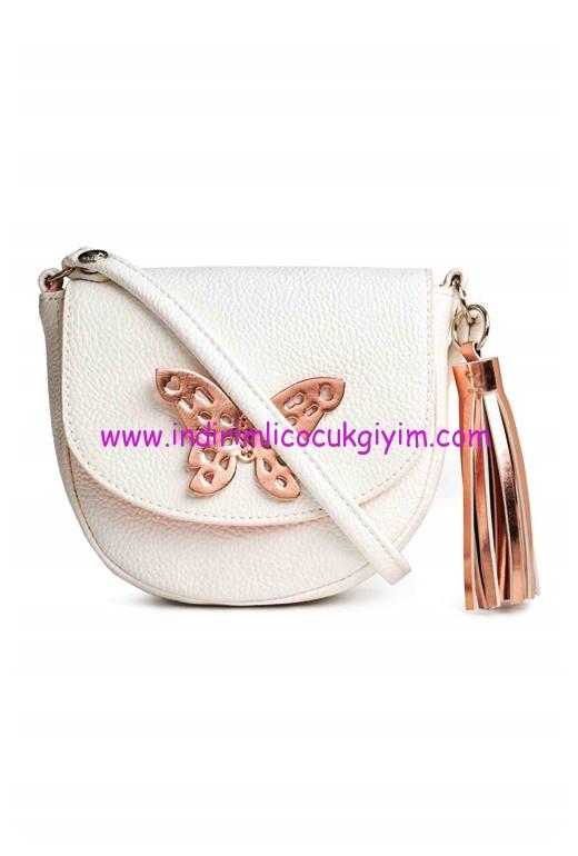 hm kız çocuk beyaz kelebekli çanta