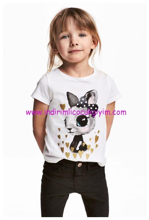 hm kız çocuk beyaz tavşan baskılı tişört