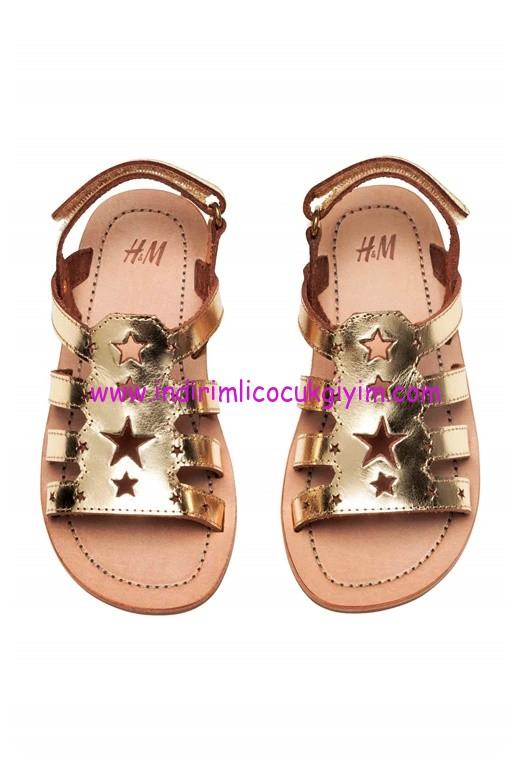 hm kız çocuk gold metalik sandalet