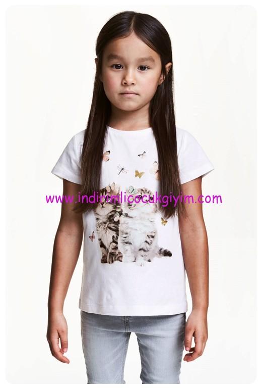 hm kız çocuk kedi desenli beyaz tişört