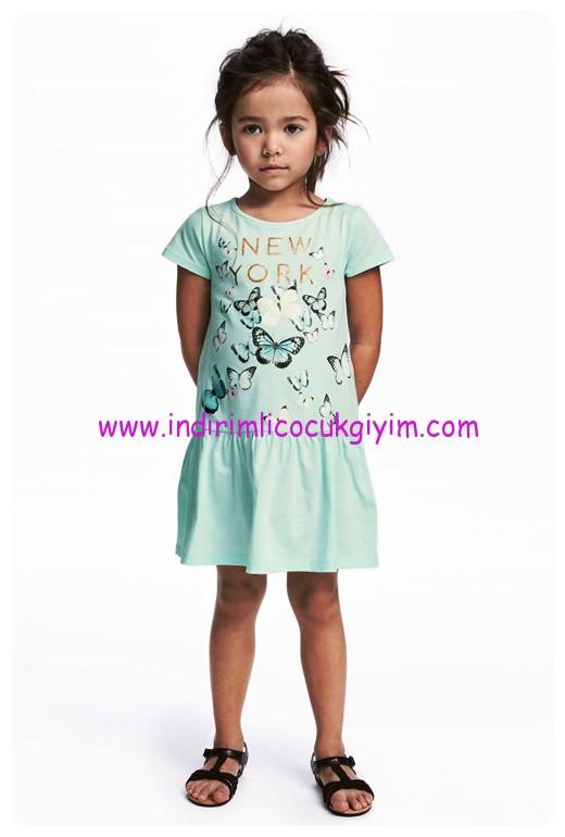 hm kız çocuk kelebek desenli nane yeşili elbise