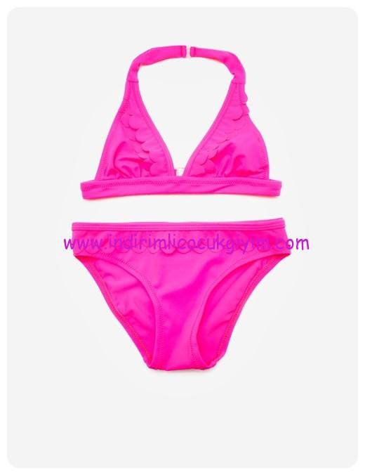 koton fuşya kız çocuk bikini