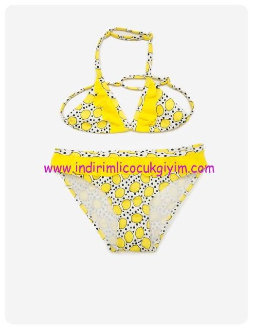 koton kız çocuk desenli sarı bikini