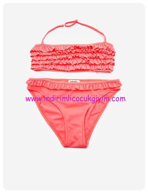 koton kız çocuk fırfır detaylı kız çocuk bikini takım