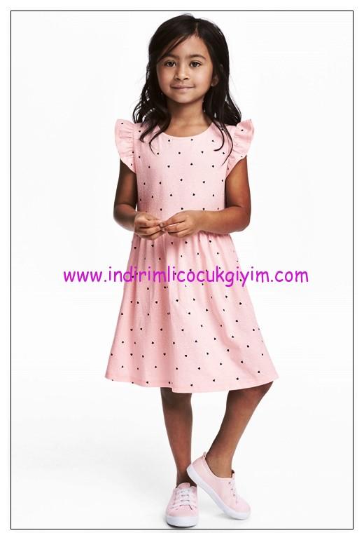 hm açık pembe kloş etekli kız çocuk elbise