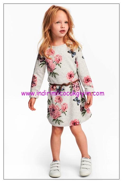 hm kız çocuk açık gri çiçekli sweat elbise