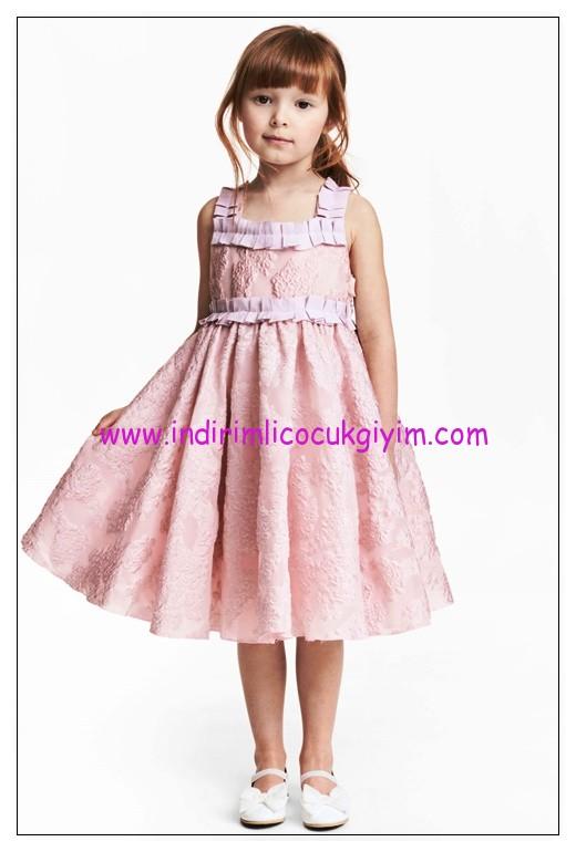 hm kız çocuk pembe işlemeli tül elbise