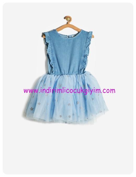 koton kız çocuk bebe mavisi tütütlü jean elbise