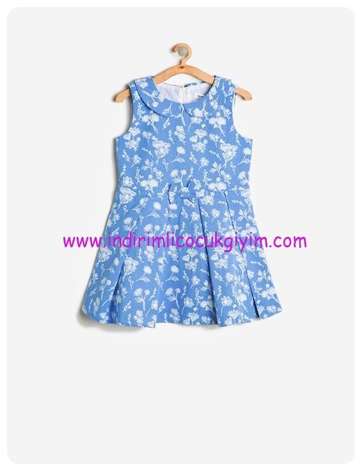 koton kız çocuk fiyonklu mavi desenli elbise