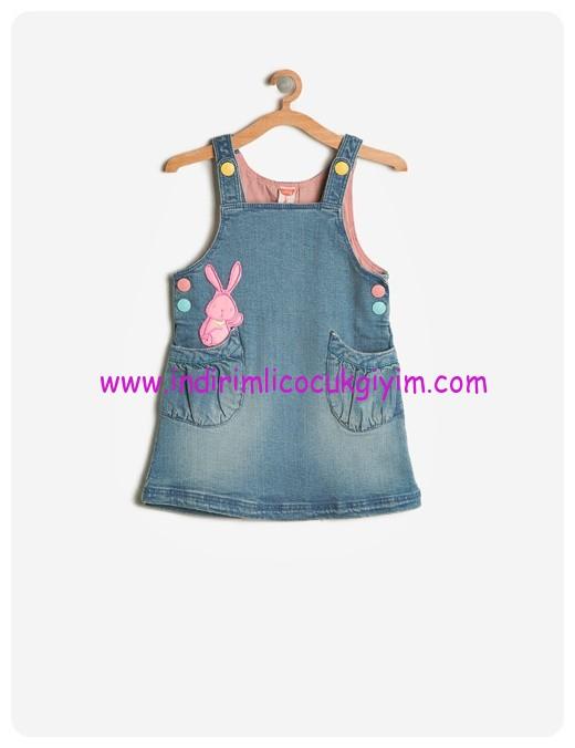koton kız çocuk hayvan baskılı jean elbise