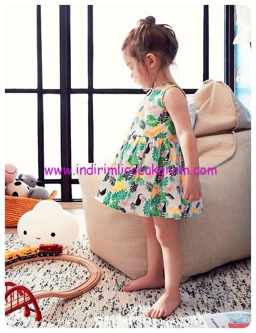 koton kız çocuk kolsuz desenli elbise
