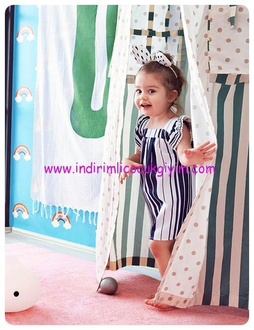 koton kız çocuk lacivert çizgili elbise