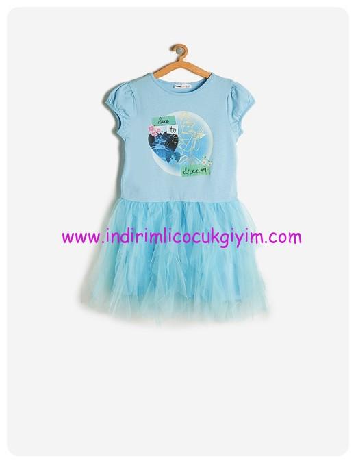 koton kız çocuk mavi sinderella baskılı elbise