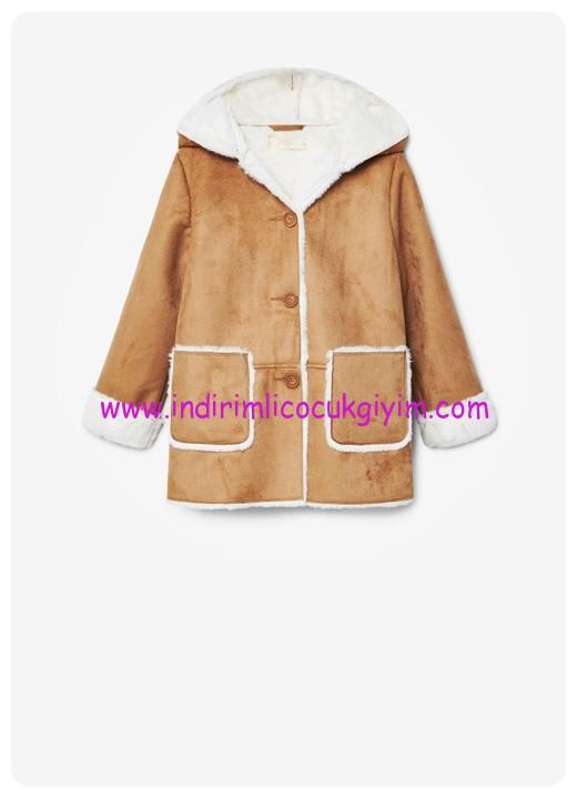 mango kız çocuk konyak rengi palto