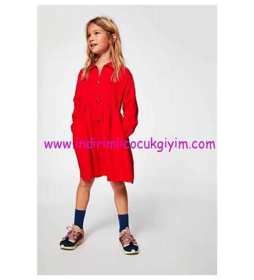 zara kız çocuk kırmızı gömlek elbise